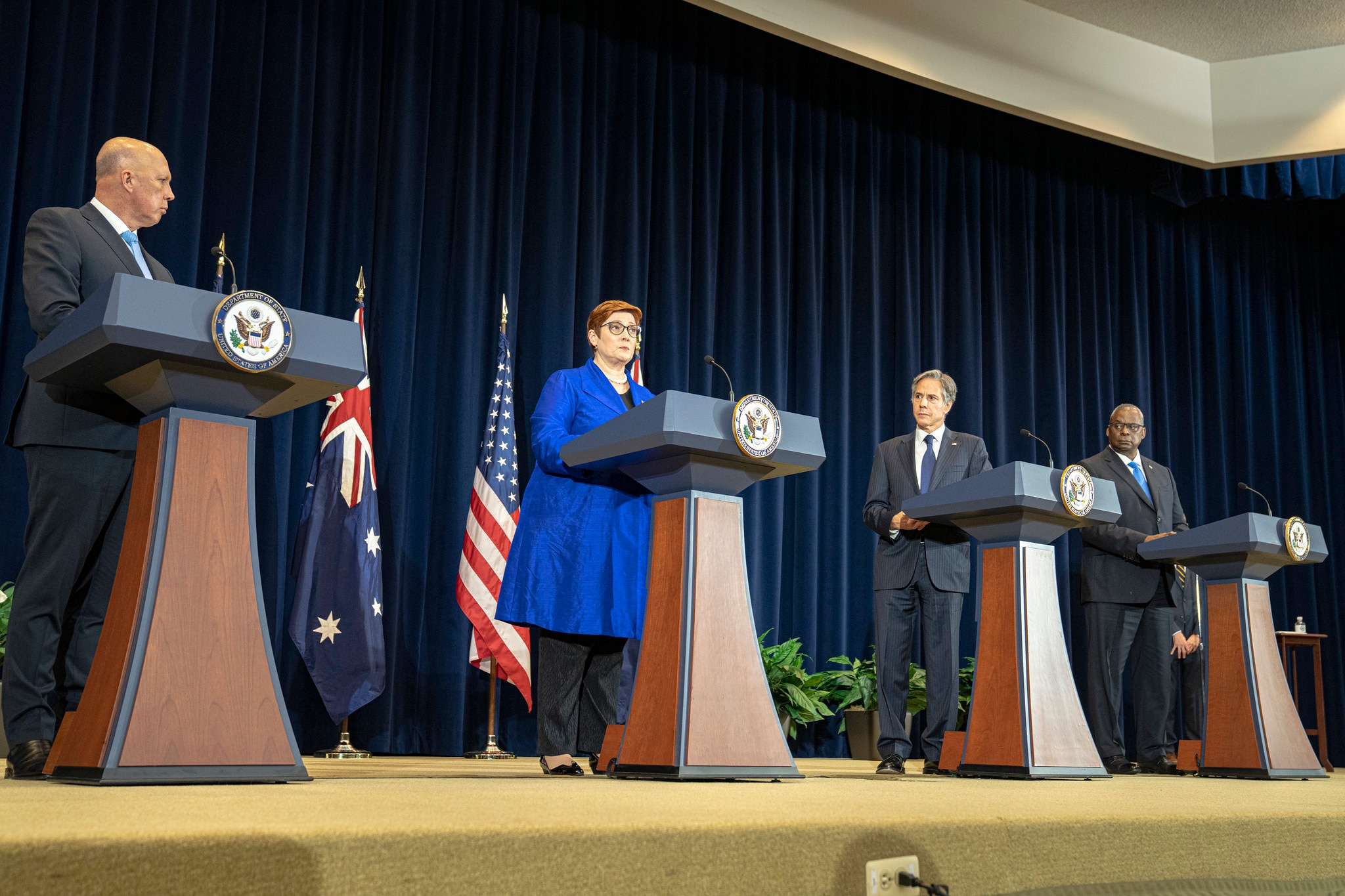 Secretary Blinken Holds A Joint Press Conference With Secretary Of Defense Lloyd Austin, Australian Foreign Minister Marise Payne, And Australian Defence Minister Peter Dutton