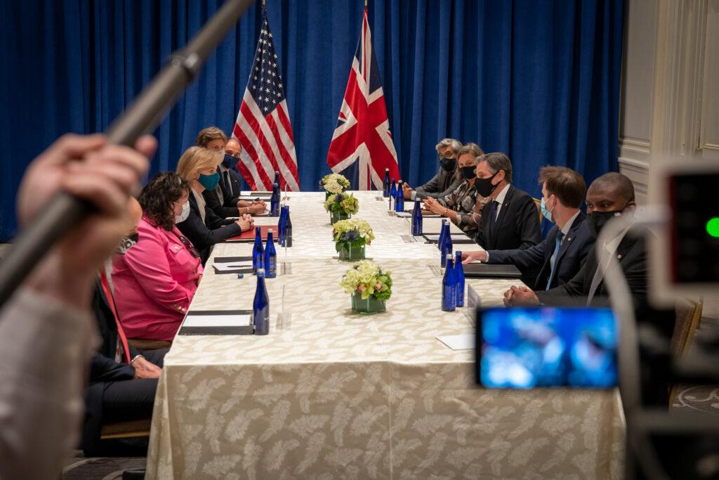 Secretary of State Antony J. Blinken meets with United Kingdom Foreign Secretary Elizabeth Truss in New York City, New York, on September 20, 2021. [State Department photo by Ron Przysucha/ Public Domain]